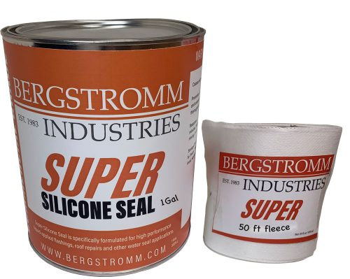 Super Silicone Seal 1 Gal for repairing metal roof seams, chimneys, EPDKM Rubber Roofs