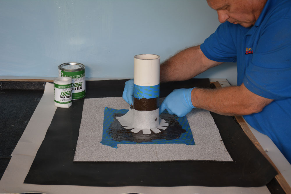 Cut Turbo Poly Fleece to size and apply over resin